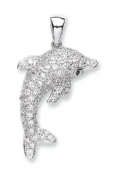 Sterling Silver Cubic Zirconia Dolphin Pendant  5.2g